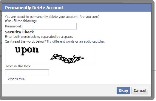 """او """" حذف حسابي """" اذا كنت تستعمل الفيس بوك باللغه العربيه. deletefb22"""