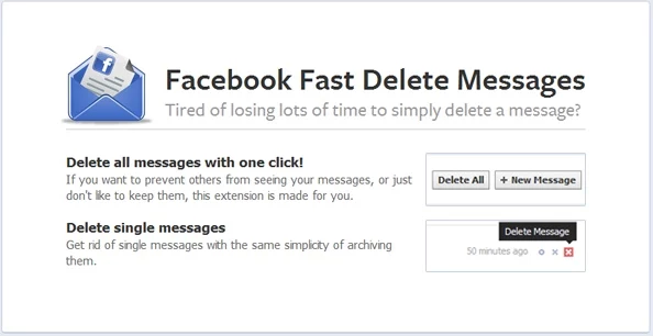 Facebook delete messages