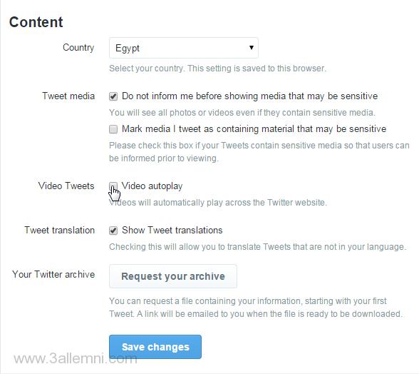 إيقاف التشغيل التلقائي للفيديو في تويتر 2