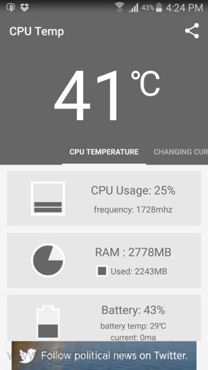 تطبيق Cpu Temperature لعرض درجه حراره البروسيسور لهواتف الاندرويد