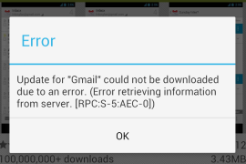 حل مشكله Error Retrieving Information From Server RPC: S-5: AEC-0 للاندرويد