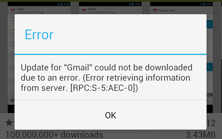 حل مشكله Error Retrieving Information From Server RPC: S-5: AEC-0 للاندرويد 1