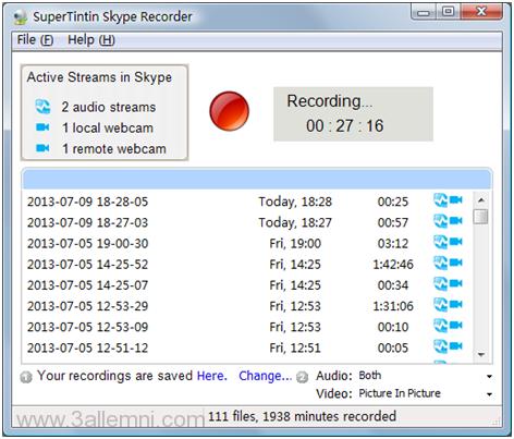 تحميل برنامج SuperTintin Skype Recorder