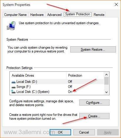 كيفيه انشاء نقطه استعاد نظام Restore Point فى ويندوز 10