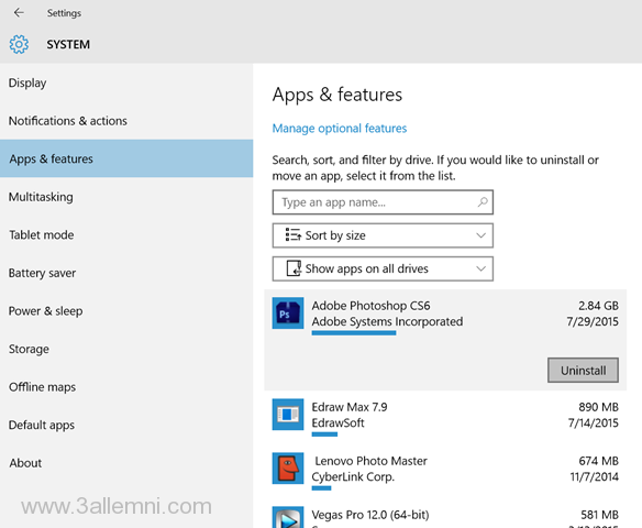 Settings-> System-> Apps and features