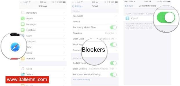 كيفيه منع الاعلانات فى iOS 9 للايفون و الايباد