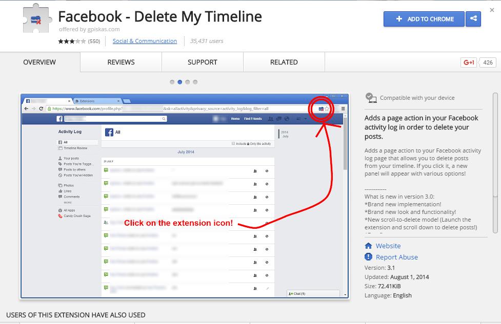 حذف جميع منشورات الفيس بوك بضغطه واحده