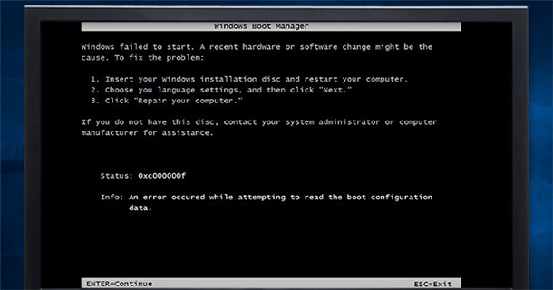طريقة حل مشكلة رسالة الخطأ Error 0xc00000f عند تثبيت الويندوز 1