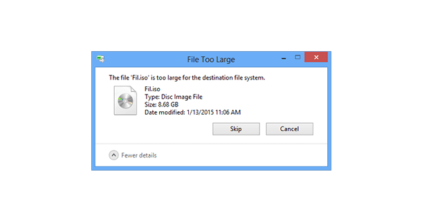 كيفية حل مشكلة File is too Large for Destination File System 32
