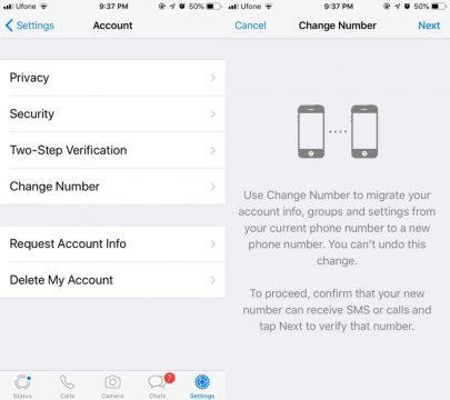 طريقة تغيير رقم هاتفك في تطبيق واتساب Whatsapp 2