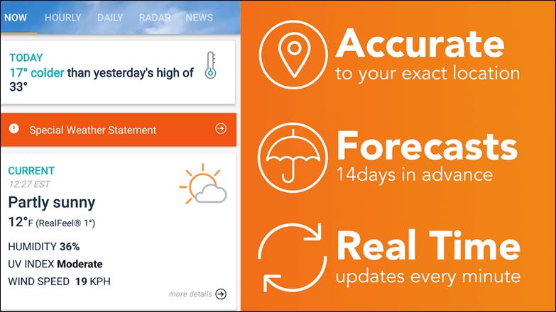 أفضل التطبيقات لمعرفة الطقس ، تابع الأحوال الجوية علي هاتف الأندرويد . 2