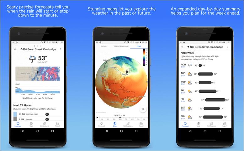 أفضل التطبيقات لمعرفة الطقس ، تابع الأحوال الجوية علي هاتف الأندرويد . 1