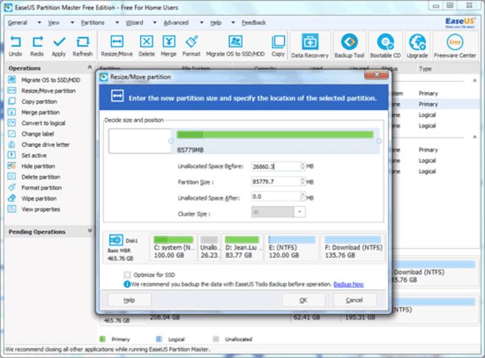 تحميل برنامج تقسيم الهارد بدون فورمات easeus partition master