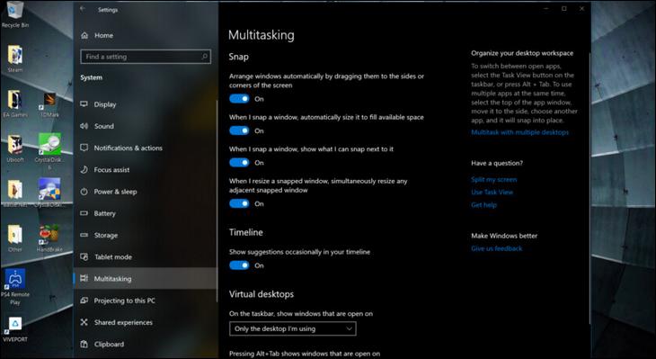 طريقة تقسيم الشاشة في نظام التشغيل Windows 10 2