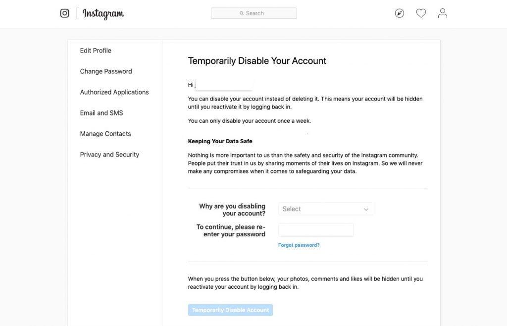 تعطيل حساب إنستقرام أو حذفه نهائيًا من الموقع 2