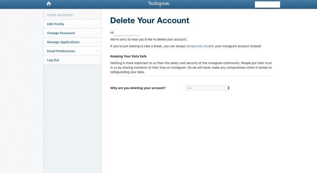 تعطيل حساب إنستقرام أو حذفه نهائيًا من الموقع 3