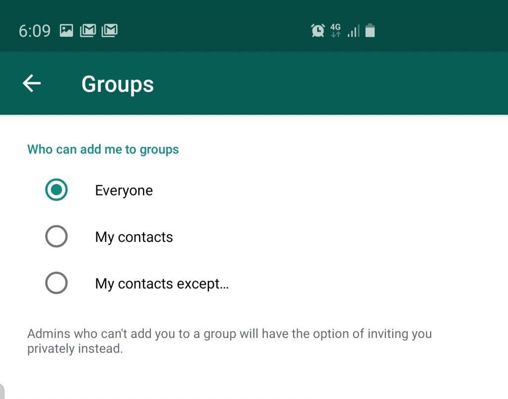 منع الآخرين من إضافتك إلى مجموعات الواتساب