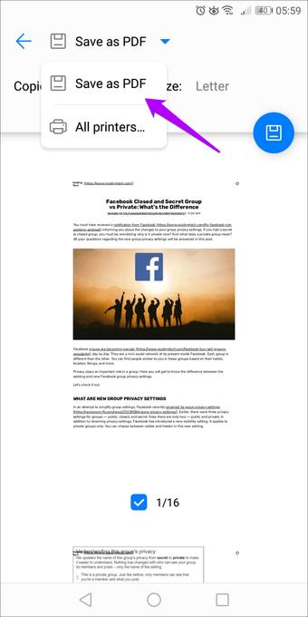 حفظ صفحات الويب كملف PDF على الأندرويد 2