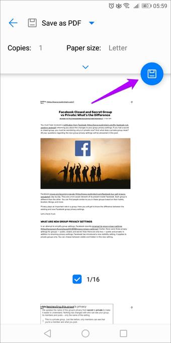 حفظ صفحات الويب كملف PDF على الأندرويد 3
