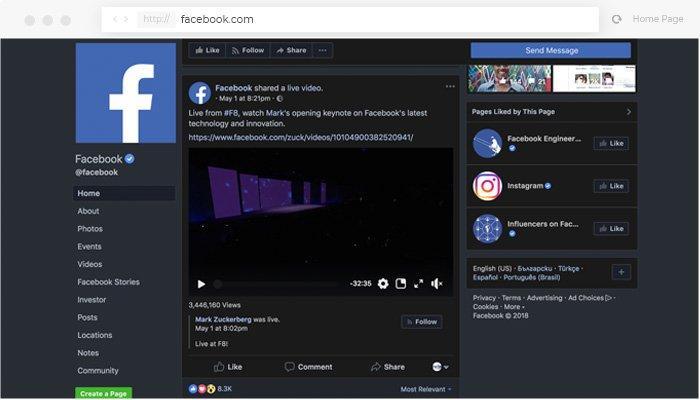 تفعيل الوضع الليلي في الفيسبوك