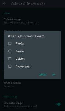 توفير استهلاك البيانات عند استخدام تطبيق واتساب 4