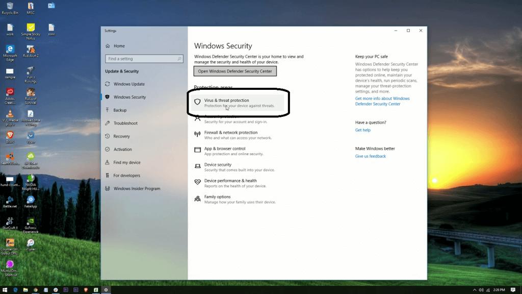 إيقاف Windows Defender