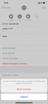 كيفية حظر الارقام والمكالمات على الايفون 4