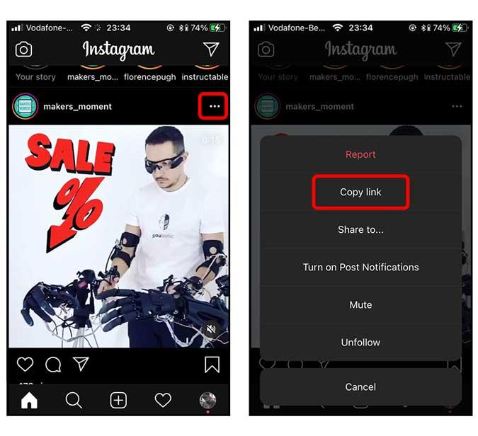 طريقة تحميل فيديوهات Instagram على الايفون 1
