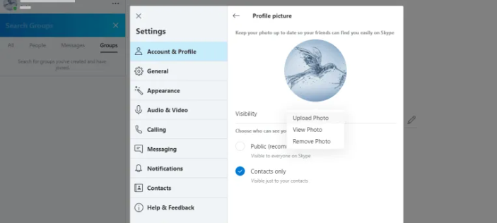 كيفية تغيير الصورة الشخصيه على سكايب