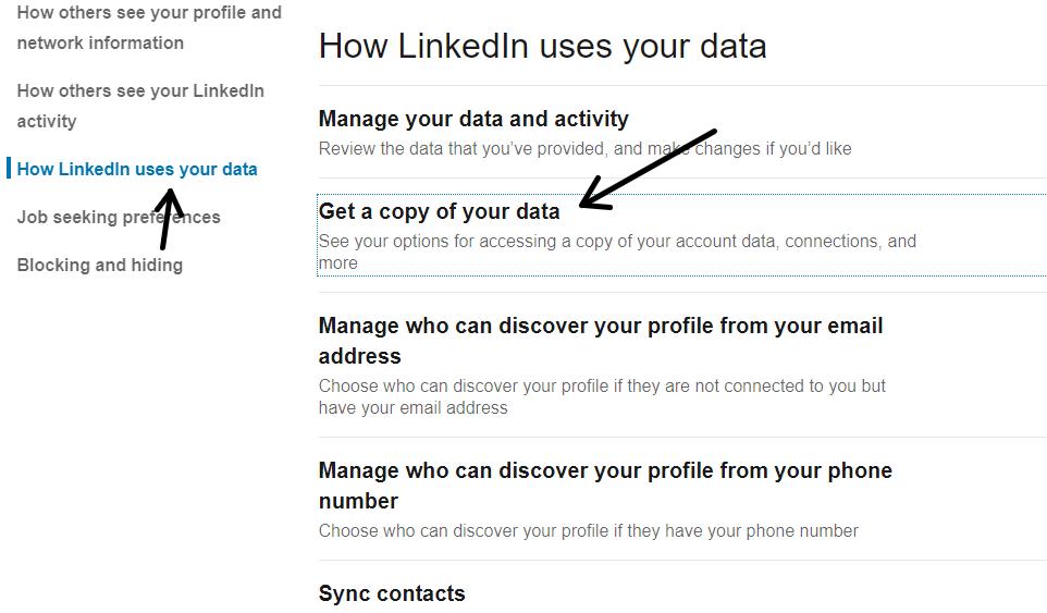 الحصول على نسخه من بياناتك على لينكد ان