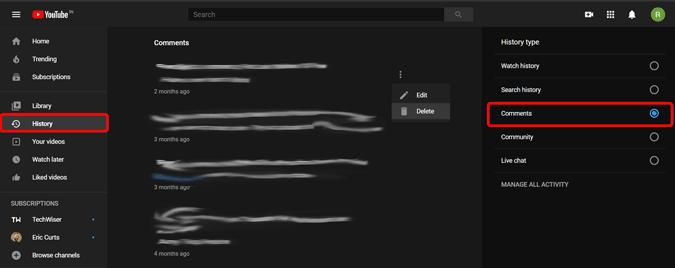 كيفية حذف كل تعليقاتك على يوتيوب
