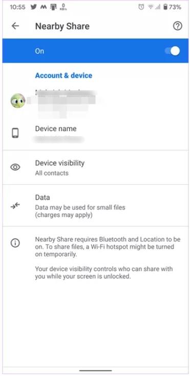 ما هي ميزة المشاركة عن قرب Nearby Share و كيفية استخدامها