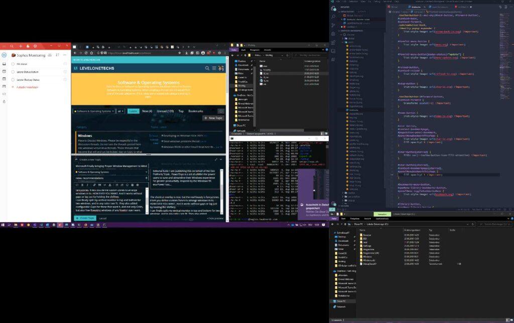 تقسيم الشاشة في ويندوز 10